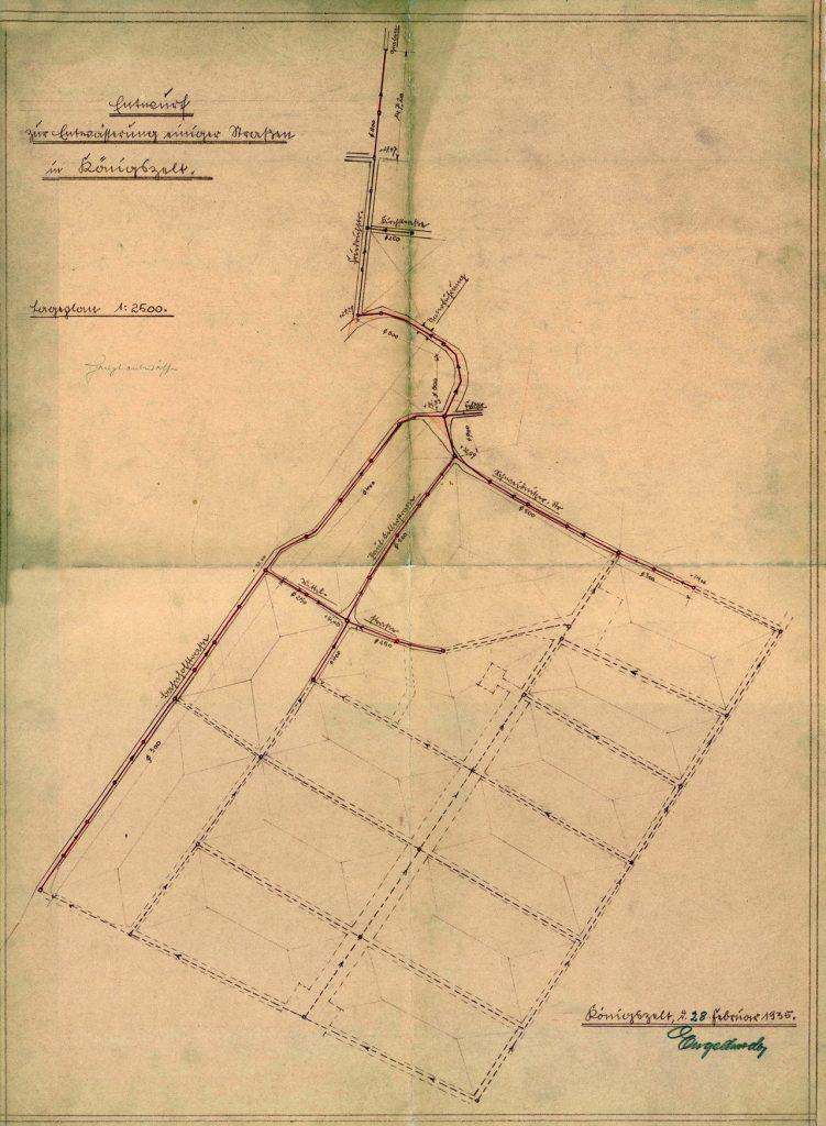 Projekt kanalizacji burzowej dla Königszelt - 1935 r.