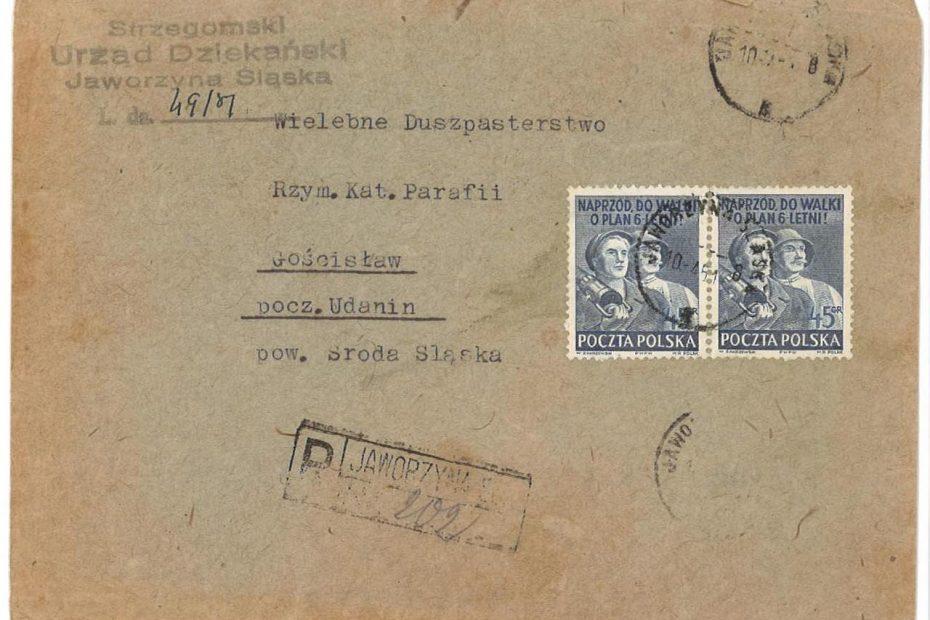 obwoluta_strzegomski_urząd_dziekański_jaworzyna_śląska-10.04.1951