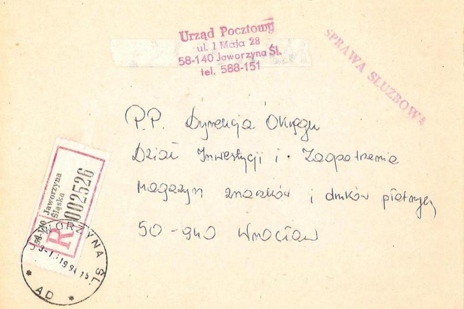 obwoluta_urzad_pocztowy_jaworzyna_śląska-3.10.1994
