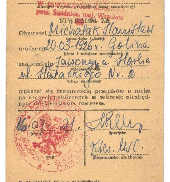 Karta rowerowa Jaworzyna Ślaska 1971