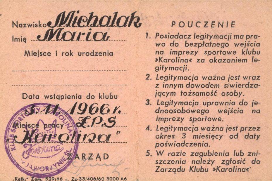 Legitymacja MKS Karolina Jaworzyna Śląska 1966