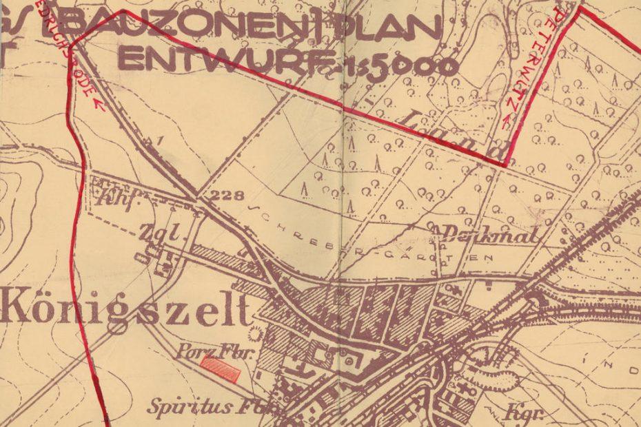 Bauzonen Plan, Besiedlung Königszelt, 1922 r.,