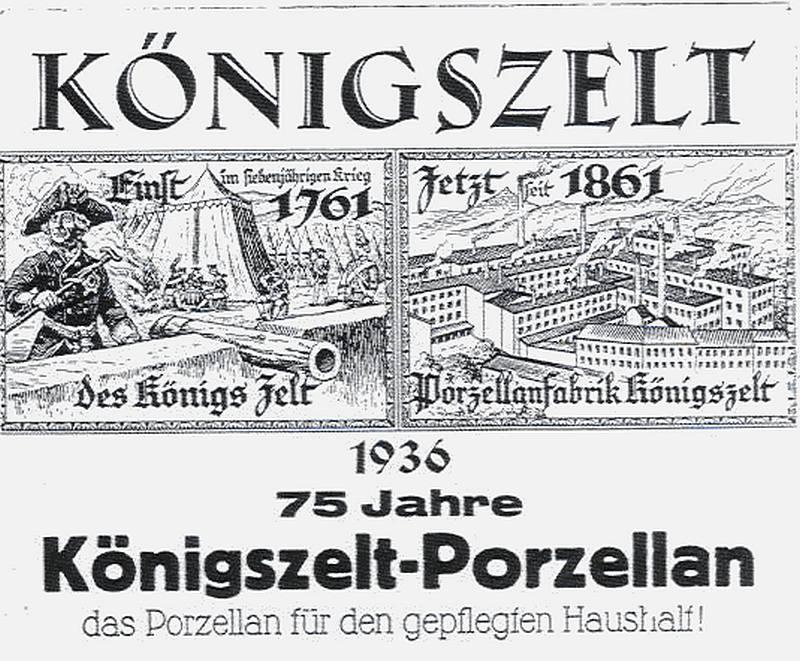 Königszelt  (Jaworzyna Śląska). 75 lat zakładów porcelany. Druk okolicznościowy. 1936 r.
