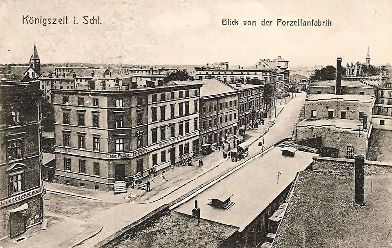 Königszelt  (Jaworzyna Śląska). Hauptstrasse (Wolności), widok z fabryki porcelany