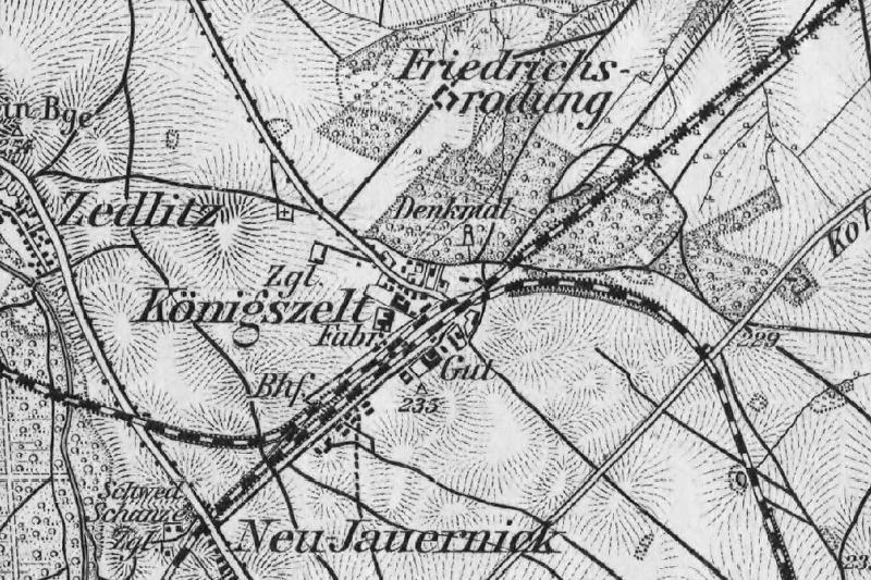 Mapa Königszelt , Karte des Deutsches Reiches, wyd.  Königlich-Preussische Landesaufnahme , 1893 r.