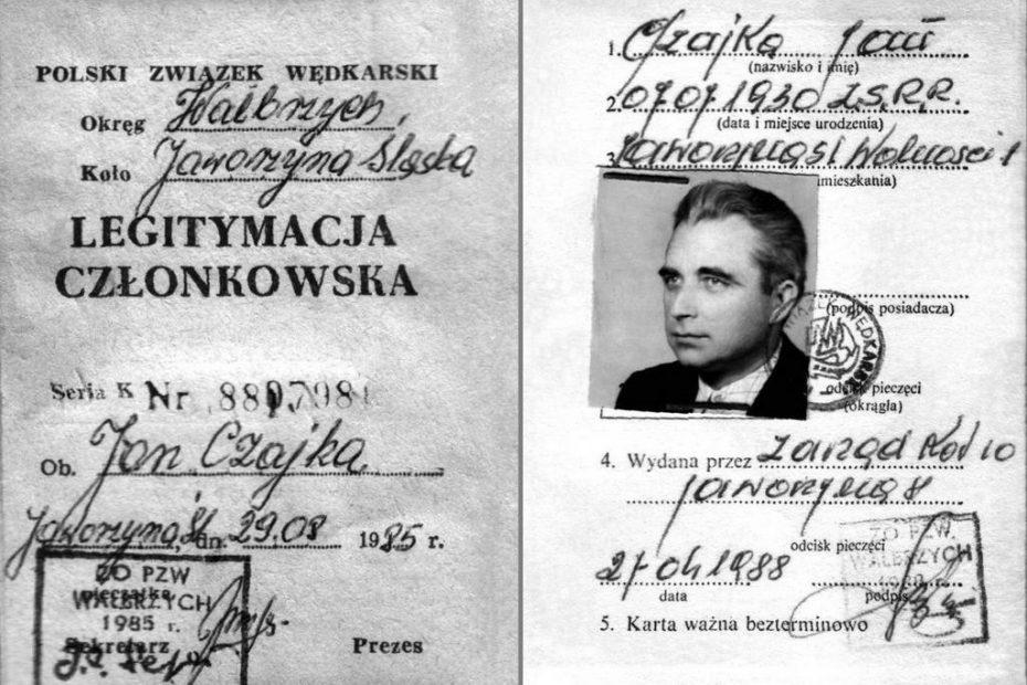 Legitymacja wędkarska ks. Jan Czajka
