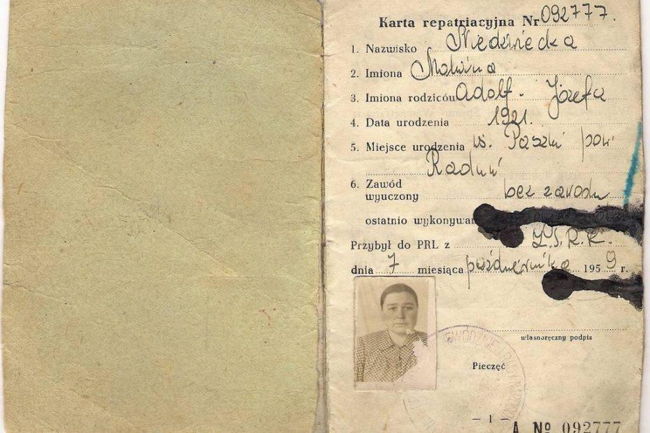 Karta repatriacyjna 1959
