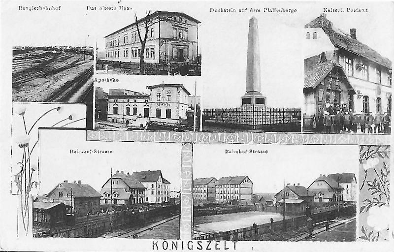 Königszelt  (Jaworzyna Śląska). Na dole widoczny budynek poczty wraz z wybiegiem dla koni i zabudowaniami stajni.
