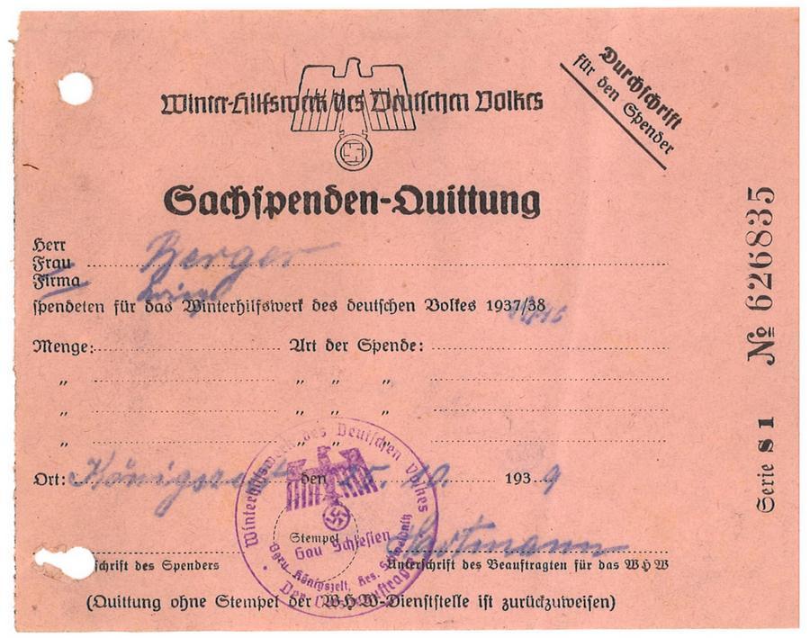 Pokwitowanie Winterhilfswerk des Deutschen Volkes Königszelt