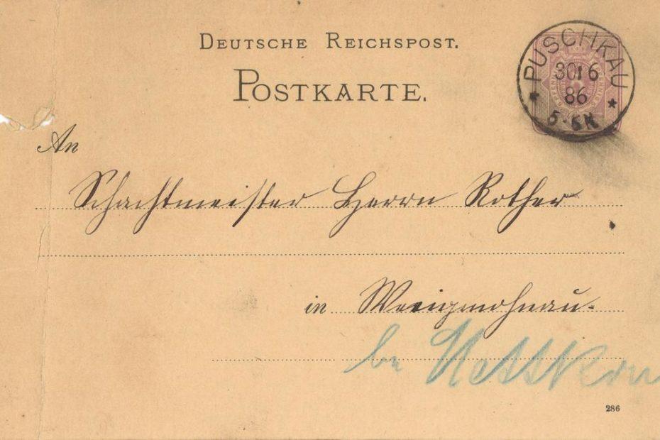 Puschkau Pastuchów kartka pocztowa 1886