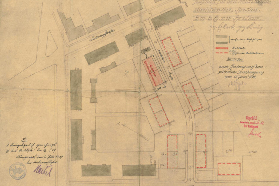 Plan budowy osiedla kolejowego Königszelt 1929