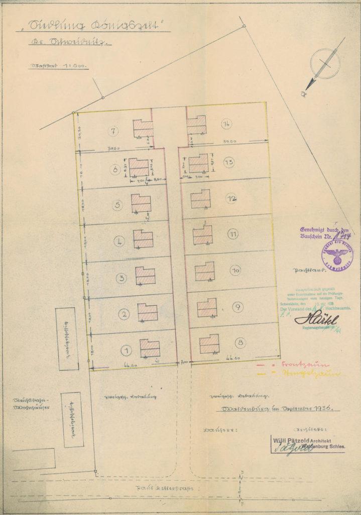 Projekt osiedla domków jednorodzinnych Hindenburgstrasse Jaworzyna Śląska Traugutta 1936