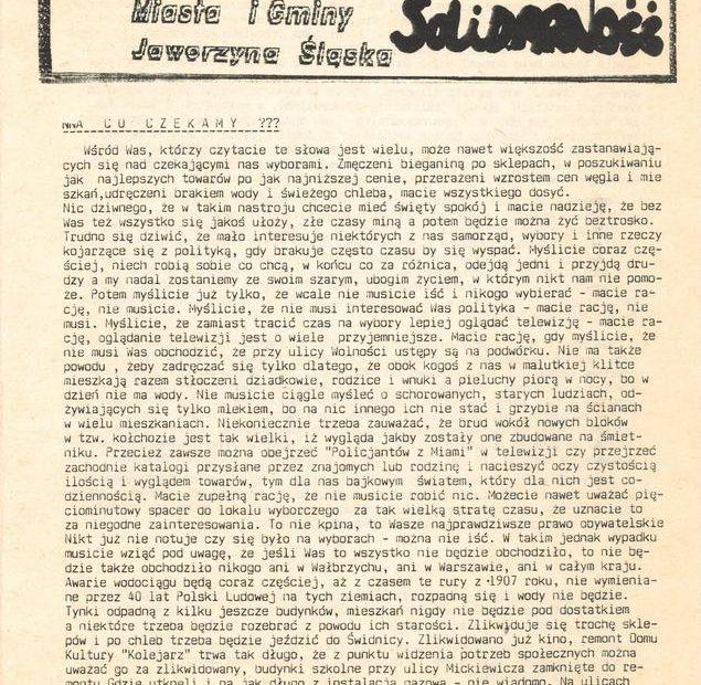 Biulety Komitetu Obywatelskiego Solidarność Jaworzyna Śląska