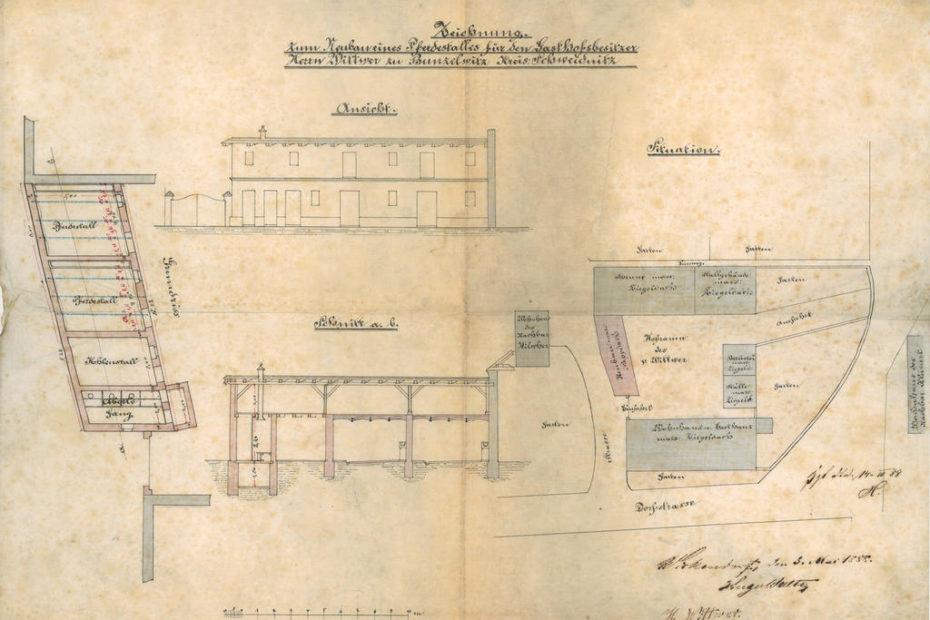 Bunzelwitz Bolesławice plan 1888