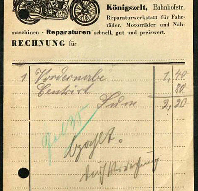 Rachunek ALfons Menzel Jaworzyna Śląska