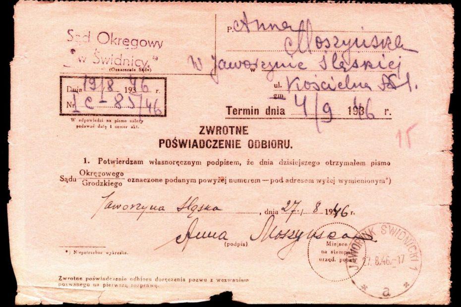 poświadczenie odbioru Jawornik Świdnicki