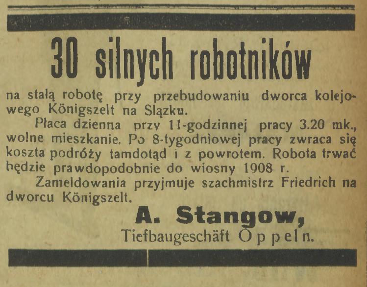 ogłoszenie praca Jaworzyna Ślaska Königszelt
