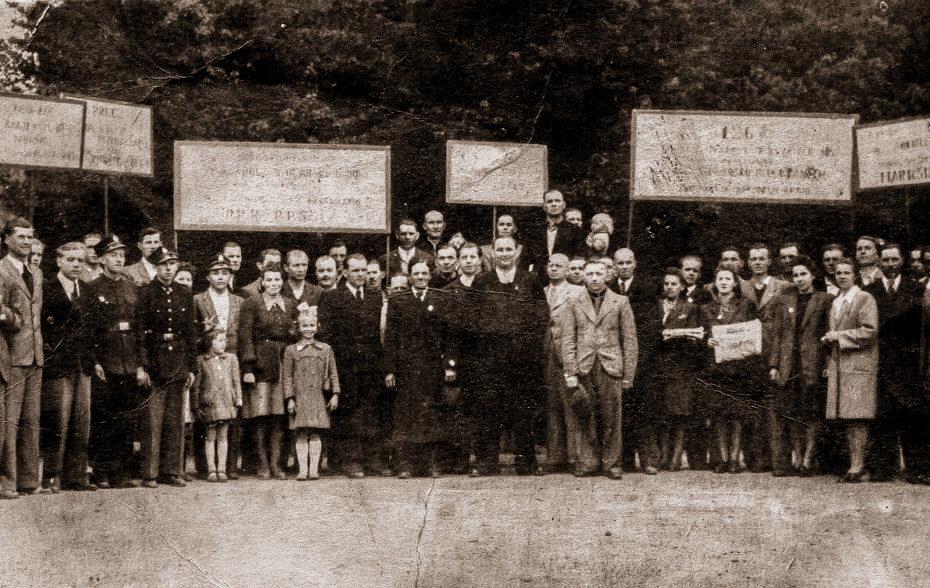 Pochód ulica 1 maja Jaworzyna Śląska 1948
