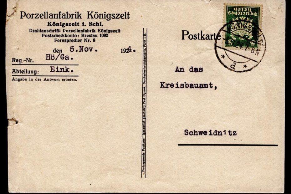 Kartka pocztowa Porzellanfabrik Jaworzyna Śląska