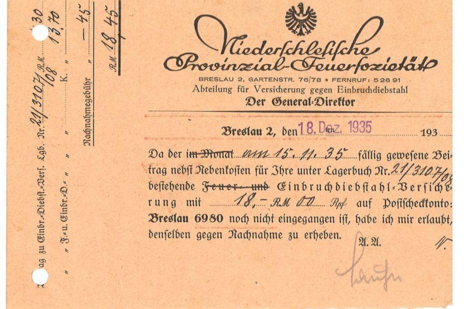 Niederschleisiche Provinzional Feuersozietät wpłata
