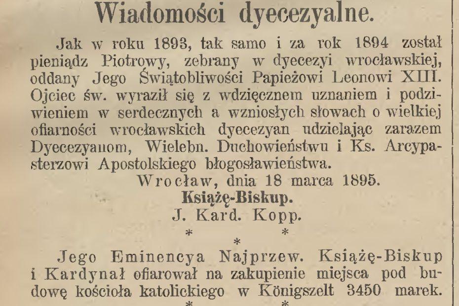 Darowizna kościół Jaworzyna Śląska Königszelt