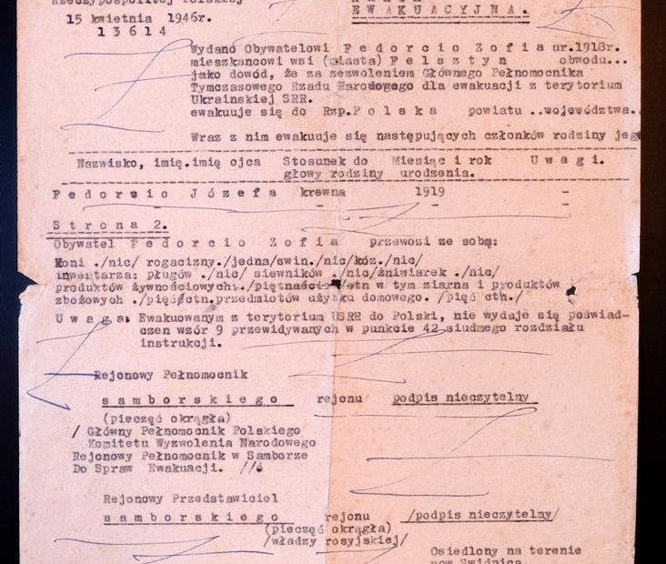 Karta ewakuacyjna repatriacyjna Nowy Jaworów