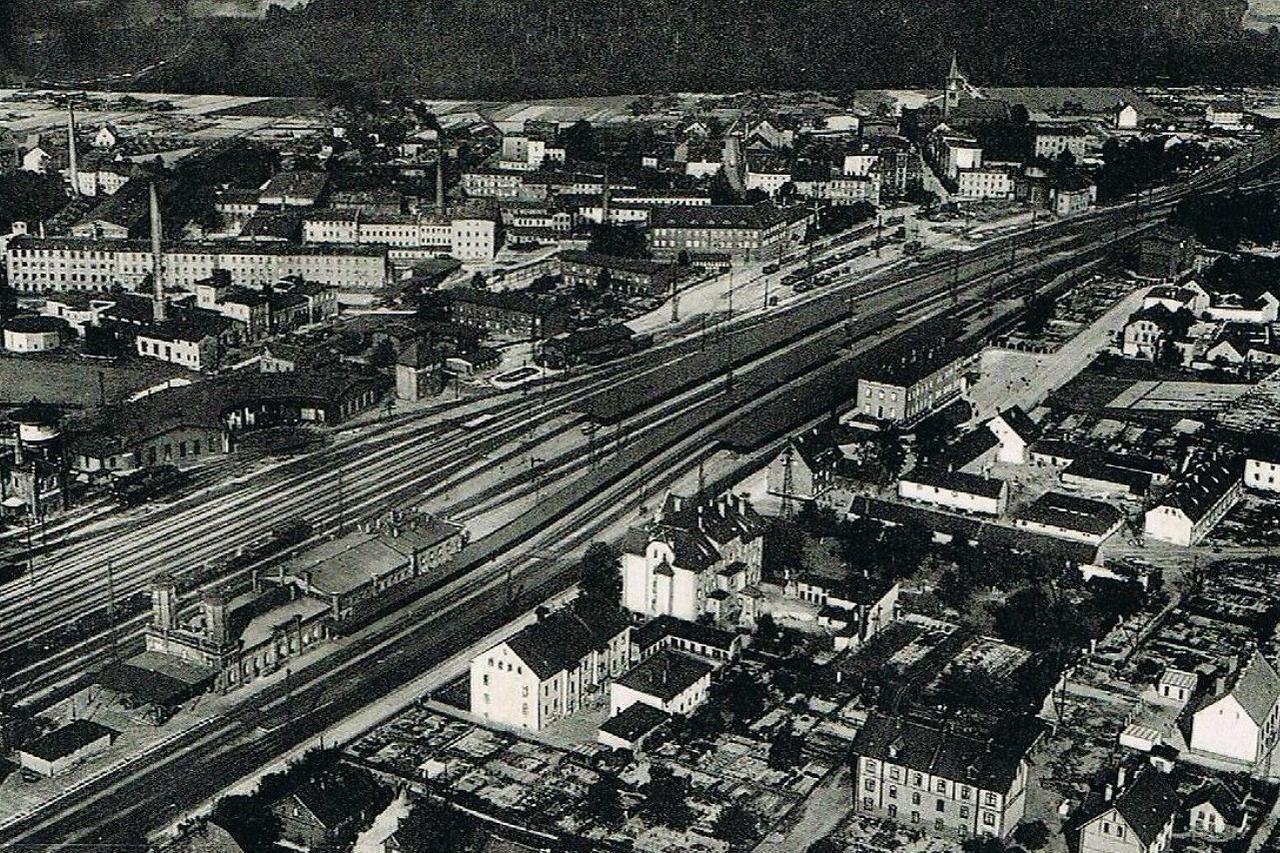 Jaworzyna Śląska (Königszelt), lata 30. XX wieku, fotografia lotnicza