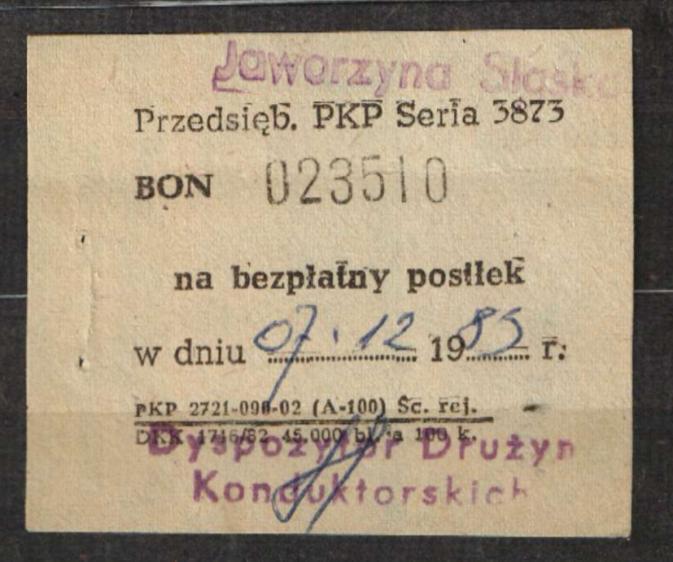 Bon posiłek PKP kolej Jaworzyna Śląska