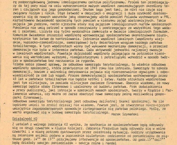 Biuletyn KO Solidarność Jaworzyna Śląska 1990
