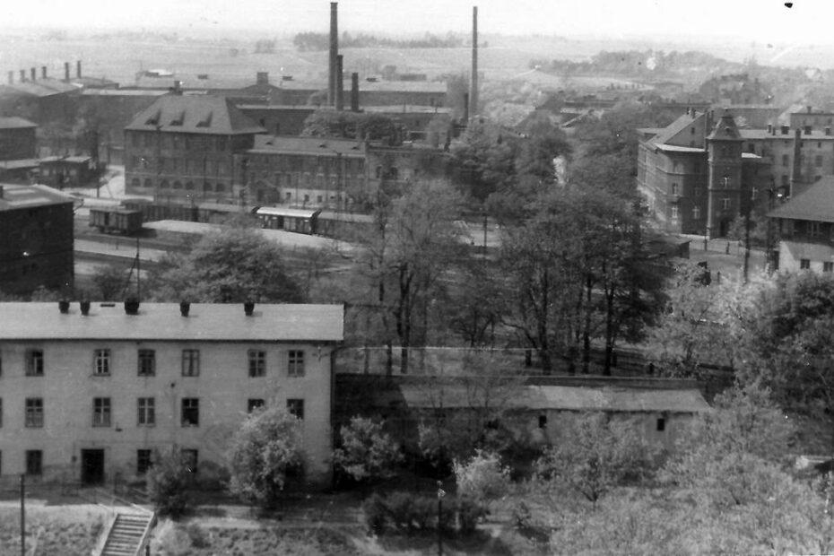 Jaworzyna Śląska widok z wieży kościoła parafialnego lata 60