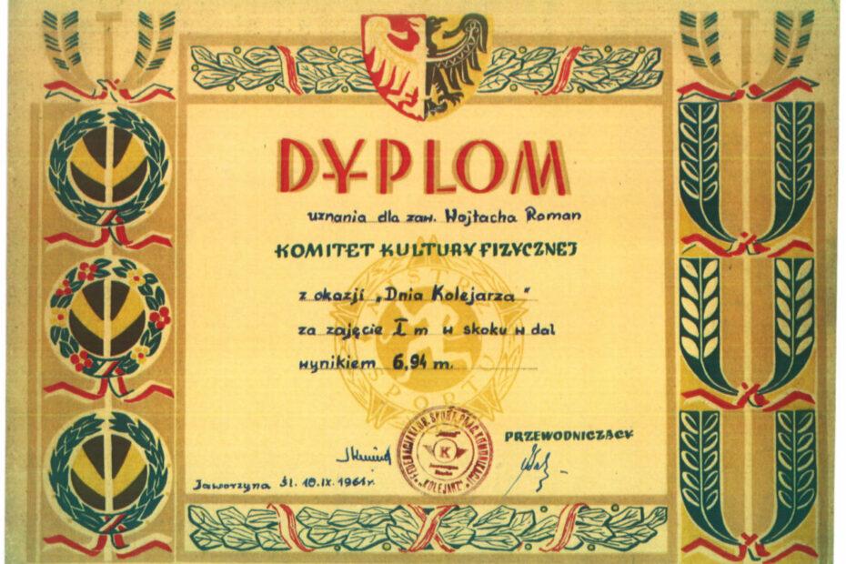 dyplom zawody skok w dal sport jaworzyna śląska 1961