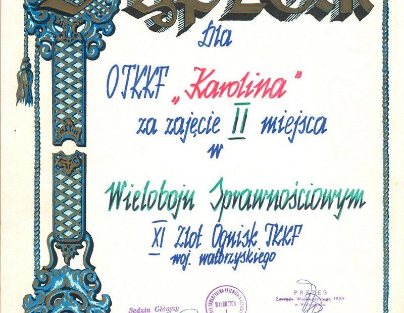 Dyplom Ognisko TKKF Karolina Jaworzyna Śląska 1988