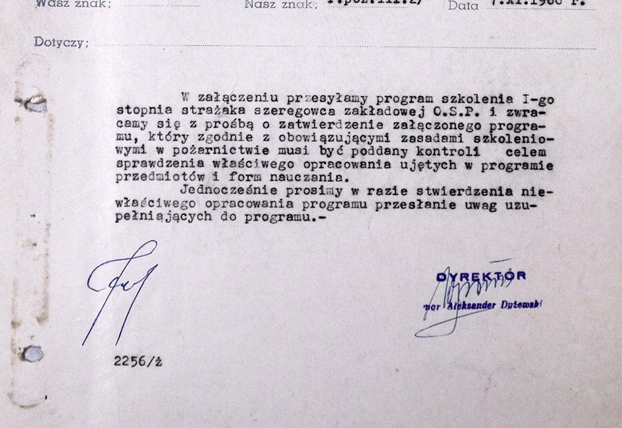Pismo OSP ZPS Karolina straż pożarna 1966 Jaworzyna Śląska