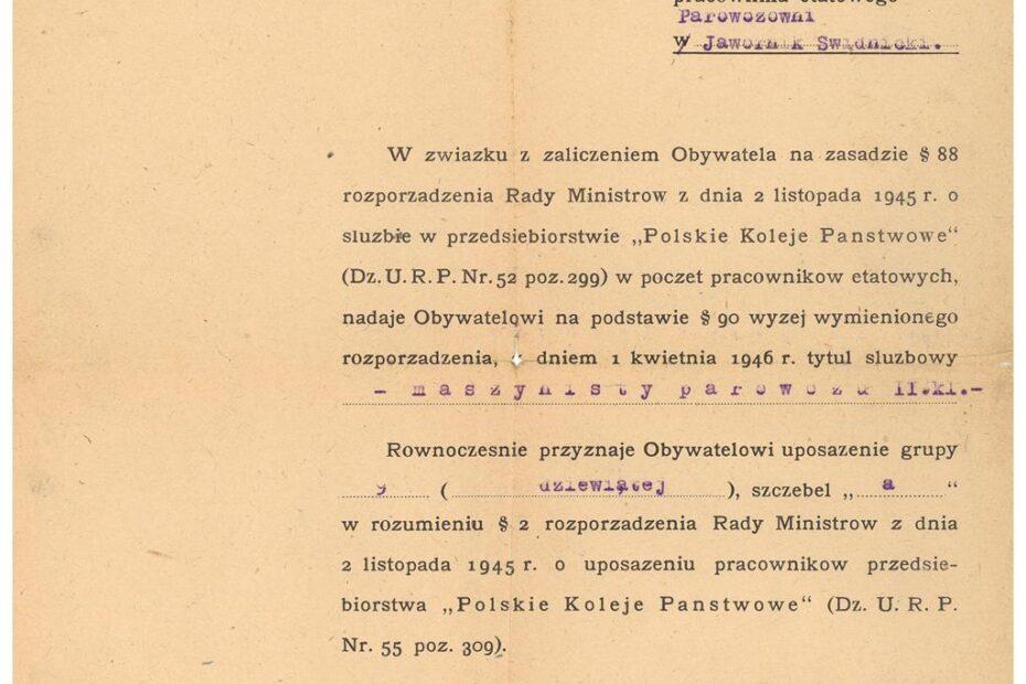 Pismo nadanie tytułu służbowego maszynisty parowozu Jaworzyna Śląska