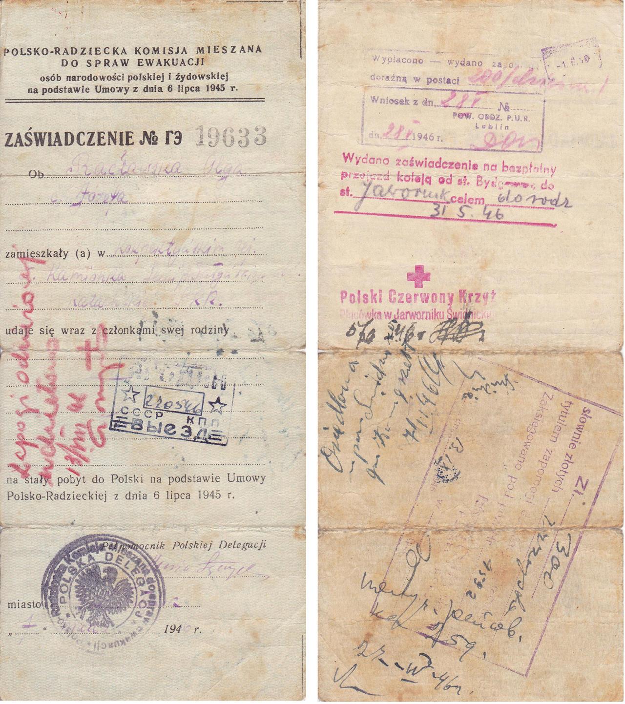 349. Dokument – Zaświadczenie nr 19633. Powrót z ZSSR do Polski
