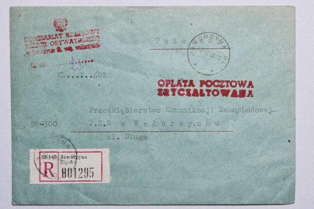 353. Obwoluta listu – Komisariat Kolejowy Milicji Obywatelskiej w Jaworzynie Śląskiej