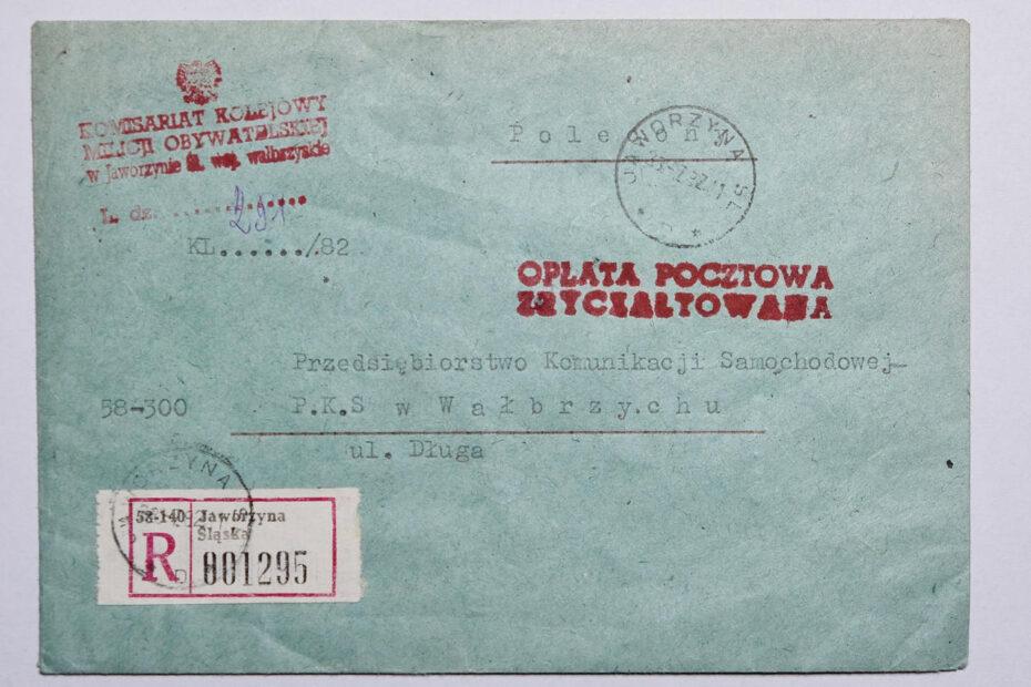Koperta Komisariat Kolejowy Milicji Obywatelskiej w Jaworzynie Śląskiej