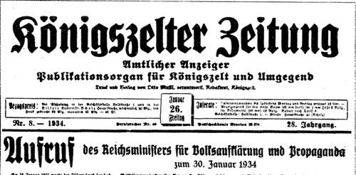 Königszelter Zeitung Jaworzyna Śląska przedwojenna gazeta