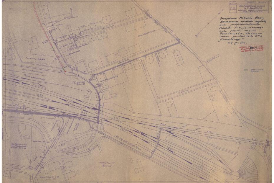 Jaworzyna Śląska plan linni telefonicznych 1958
