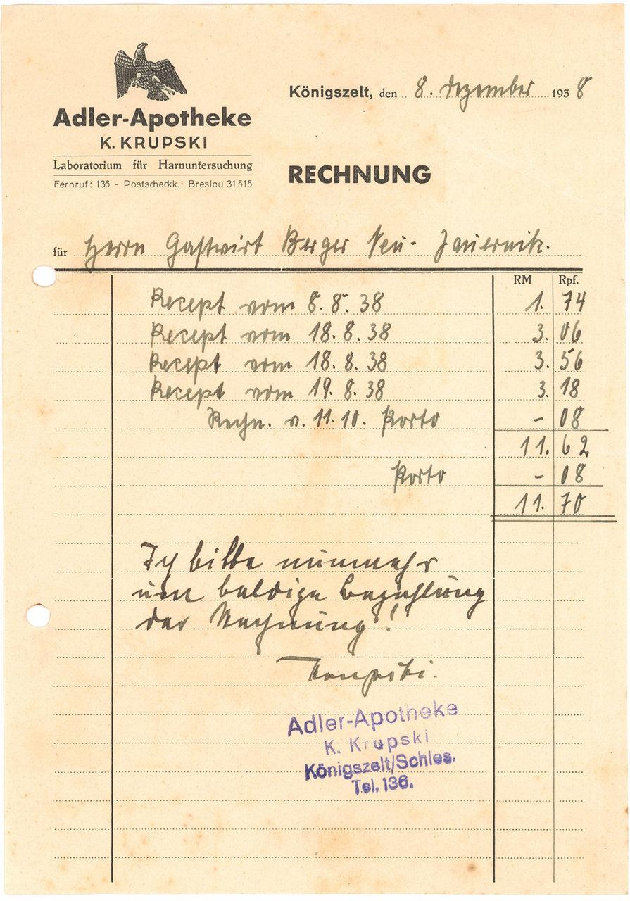 391. Dokument – Rachunek Adler-Apotheke K. Krupski w Königszelt