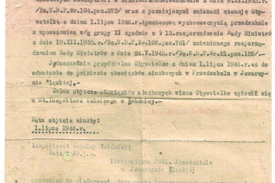 Mianowanie pierwszej wychowawczyni przedszkolnej w Jaworzynie Śląskiej