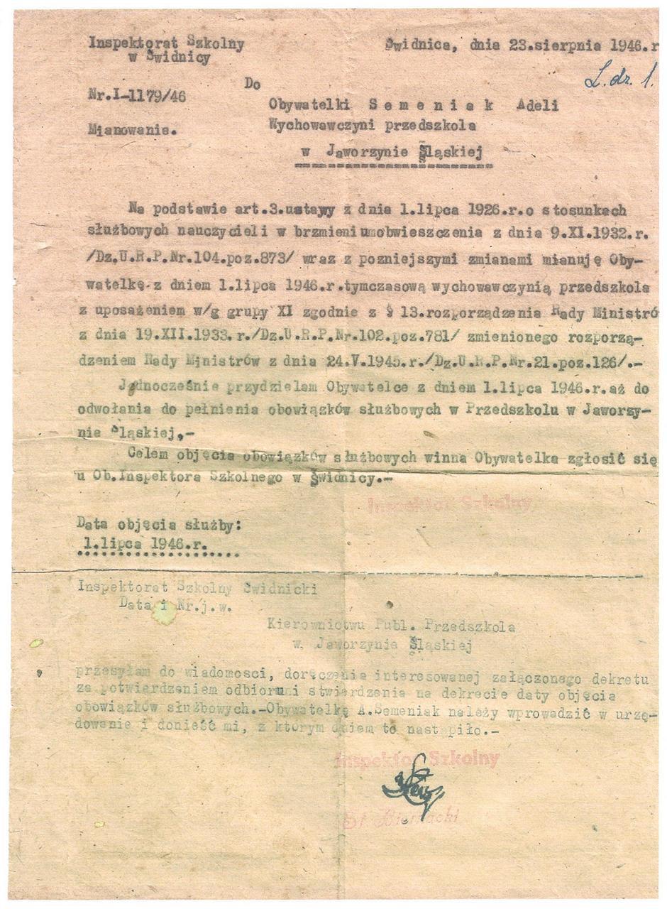 390. Dokumenty – Mianowanie pierwszej wychowawczyni Publicznego Przedszkola w Jaworzynie Śląskiej