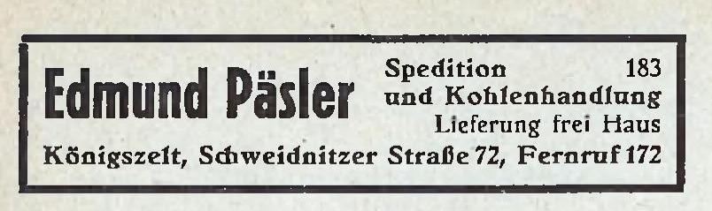 Edmund Päsler Spedition und Kohlenhandlung Jaworzyna Śląska